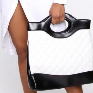 Crossbody Handbag, Quilted Black/White, NWT